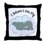 Flying Hippo Throw Pillow