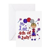 1st July 4th Boy Greeting Card