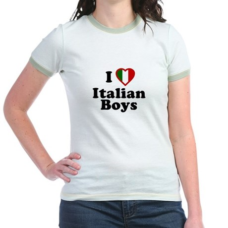 I Love Italian Boys Jr Ringer T-Shirt