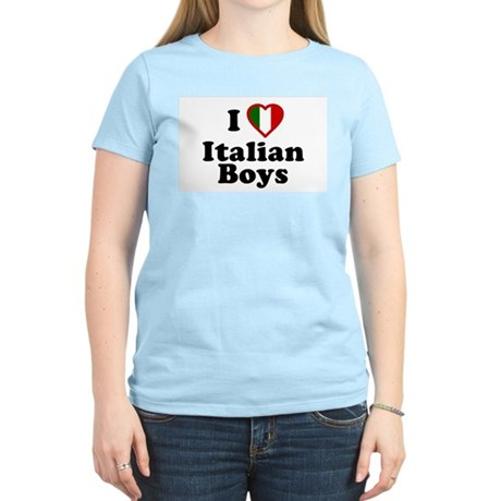 I Love Italian Boys Womens Pink T-Shirt