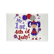 1st July 4th Girl Blue Rectangle Magnet (10 pack)