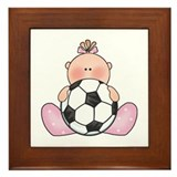 Lil Soccer Baby Girl Framed Tile