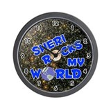 Sheri Rocks My World (Blue) Wall Clock
