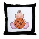 Lil Basketball Baby Girl Throw Pillow