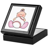 Lil Baseball Baby Girl Keepsake Box