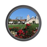 Red Roses and Santa Barbara Mission Wall Clock