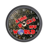 Mimi Rocks My World (Red) Wall Clock