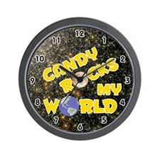 Candy Rocks My World (Gold) Wall Clock