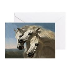 White Arabian Horses. Greeting Card