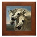 White Arabian Horses. Framed Tile