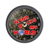 Nana Rocks My World (Red) Wall Clock