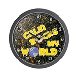 Celia Rocks My World (Gold) Wall Clock