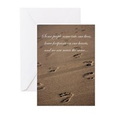 Unique Footprints in the sand Greeting Cards (Pk of 10)