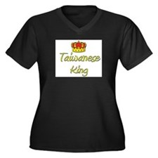 Taiwanese King Women's Plus Size V-Neck Dark T-Shi