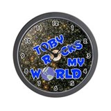 Toby Rocks My World (Blue) Wall Clock
