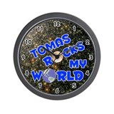 Tomas Rocks My World (Blue) Wall Clock