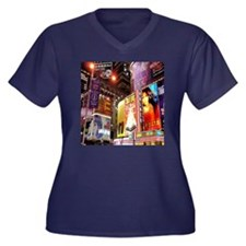 Broadway at Night Women's Plus Size V-Neck Dark