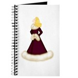 Blonde Lady in Burgundy Fur-Trimmed Robe Journal
