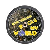 Evangeline Rocks My World (Gold) Wall Clock
