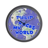 Philip Rocks My World (Blue) Wall Clock
