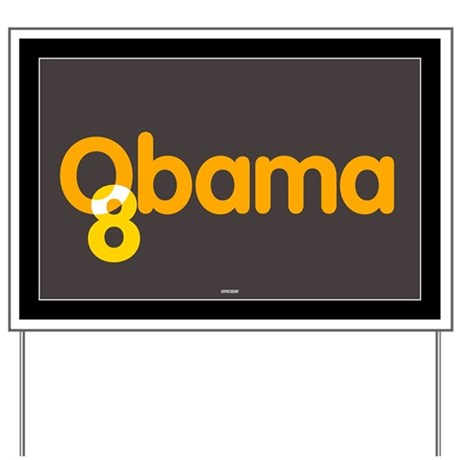 Brown and Orange Obama 08 Yard Sign
