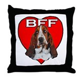 BFF Basset Throw Pillow