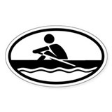 Rowing Euro Style Oval Bumper Stickers