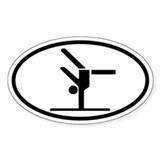 Gymnastics Euro Oval Sticker with Gymnast on Beam