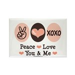 Peace Love You and Me Valentine Rectangle Magnet (