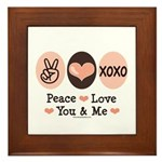 Peace Love You and Me Valentine Framed Tile