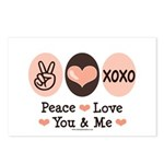 Peace Love You and Me Valentine Postcards (Package