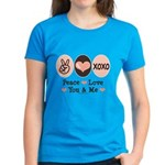Peace Love You and Me Valentine Women's Dark T-Shi