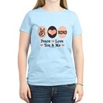 Peace Love You and Me Valentine Women's Light T-Sh
