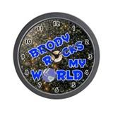 Brody Rocks My World (Blue) Wall Clock