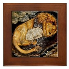 The Lion and the Lamb Stained Glass Framed Tile