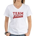 Team Hillary Red Women's V-Neck T-Shirt