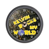 Kelvin Rocks My World (Gold) Wall Clock