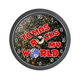 Tomas Rocks My World (Red) Wall Clock