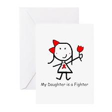 Red Ribbon - Daughter Greeting Cards (Pk of 10)