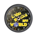 Leah Rocks My World (Gold) Wall Clock