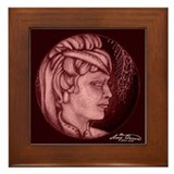 Margery cameo burgundy Framed Tile