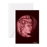 Margery cameo burgundy Greeting Cards (Pk of 10)