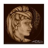 Margery cameo antique sepia Tile Coaster