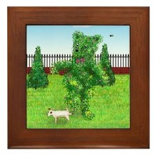 Jack Russell Peeing on Bear Bush Framed Tile