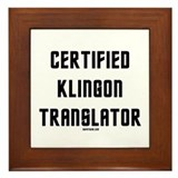 Certified Klingon Translator Framed Tile