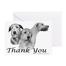 Irish wolfhound Greeting Card Thank U 3 heads