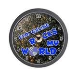 Evangeline Rocks My World (Blue) Wall Clock