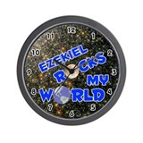 Ezekiel Rocks My World (Blue) Wall Clock