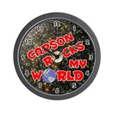 Carson Rocks My World (Red) Wall Clock