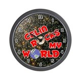 Celia Rocks My World (Red) Wall Clock